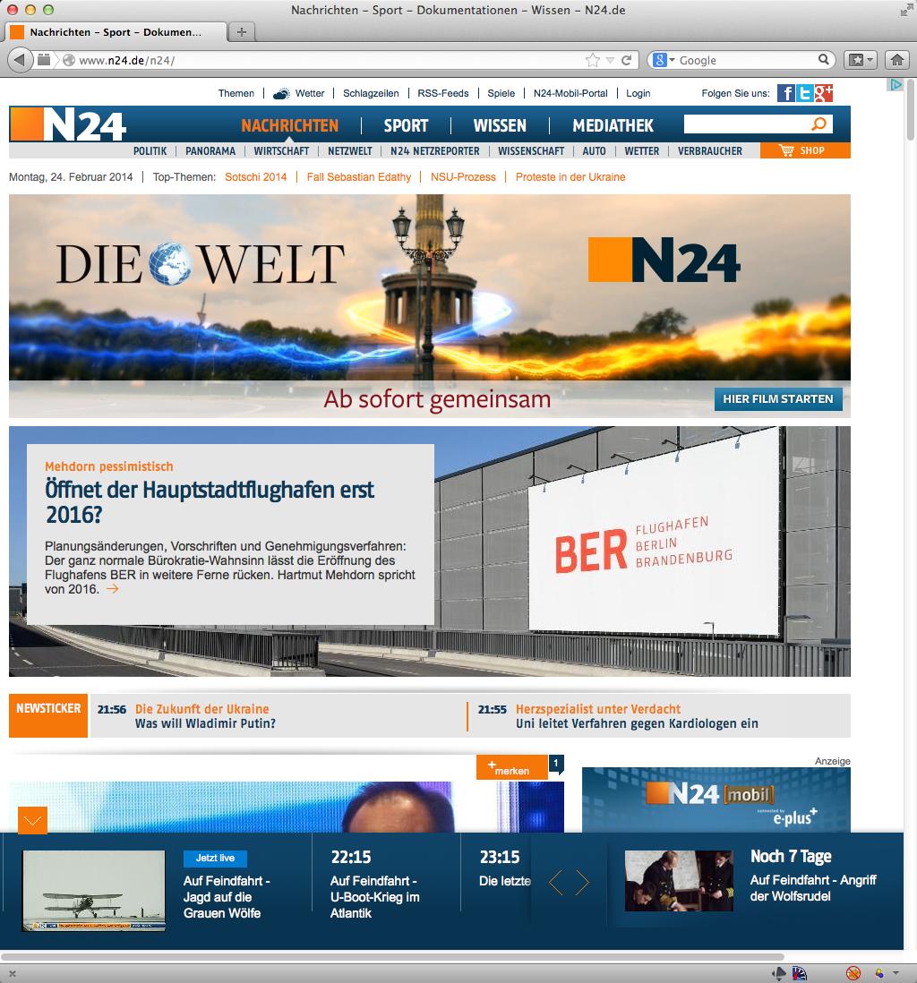 Die Homepage von N24
